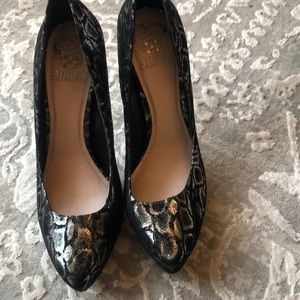 Silver and black Vince Camuto shoes
